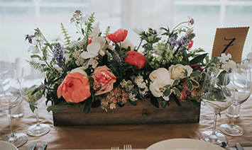 Barn wedding flower arrangement