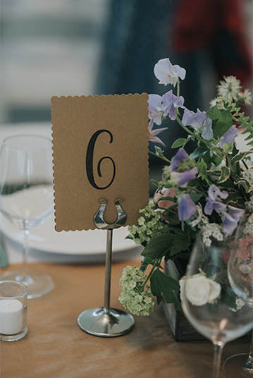 Barn wedding table card
