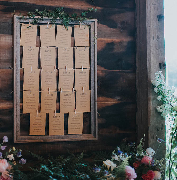 Wedding rustic seating cards and reception table