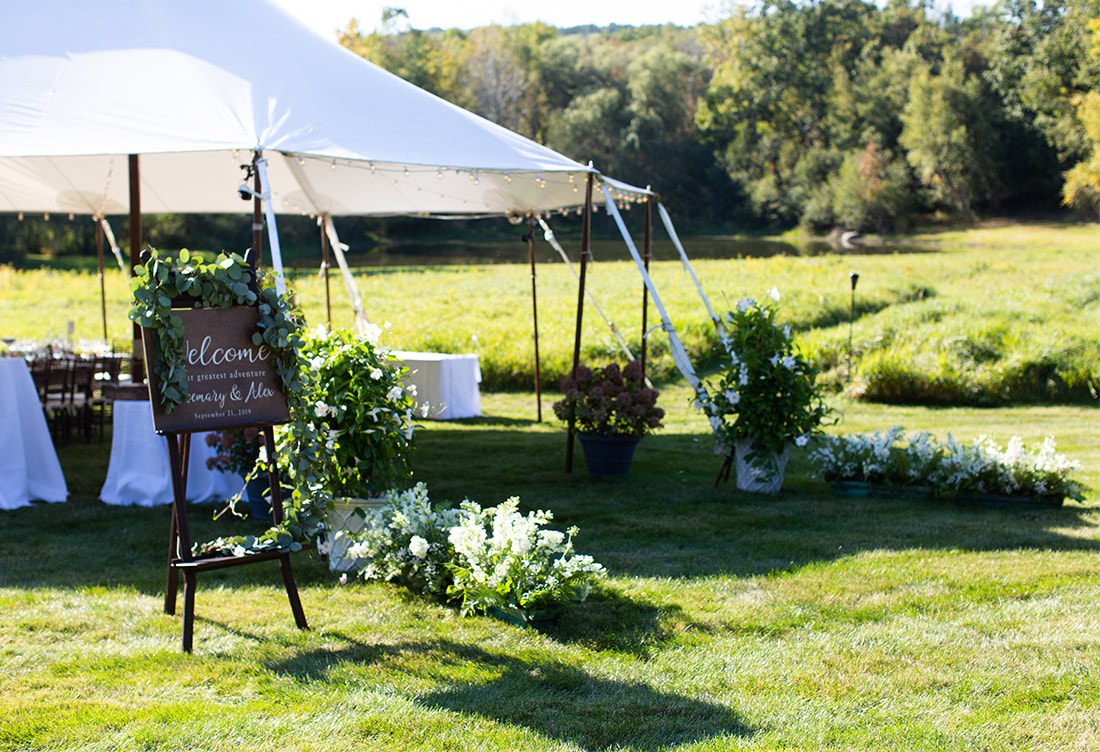 Wedding tent entrance & signage