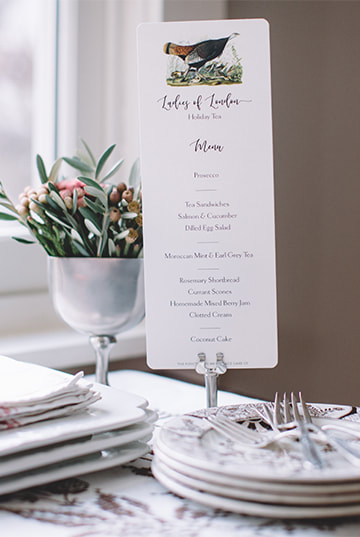 Holiday Tea Party Menu Card & Flowers